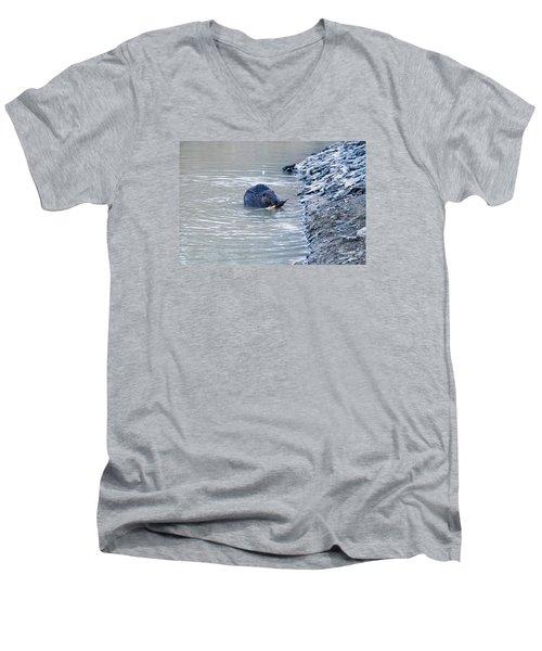 Beaver Chews On Stick Men's V-Neck T-Shirt by Chris Flees