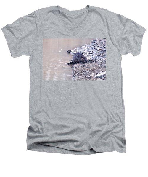 Beaver On Dry Land Men's V-Neck T-Shirt by Chris Flees