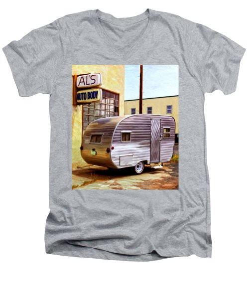 Becky's Vintage Travel Trailer Men's V-Neck T-Shirt by Michael Pickett