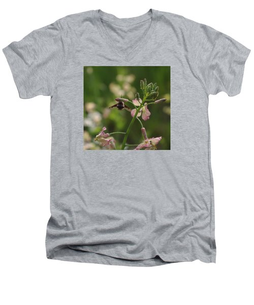 Men's V-Neck T-Shirt featuring the photograph Pink Mustard Flower by Adria Trail