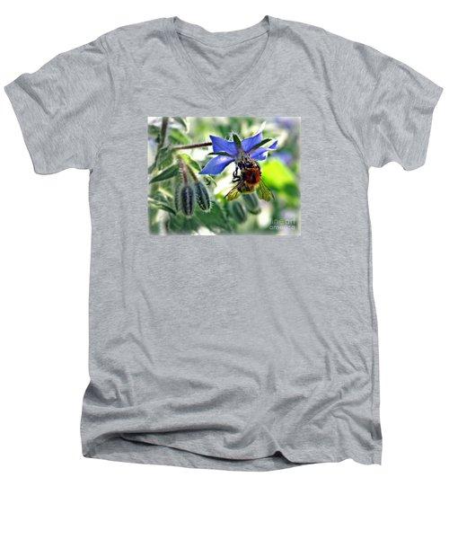 Bee On Borage Men's V-Neck T-Shirt by Morag Bates