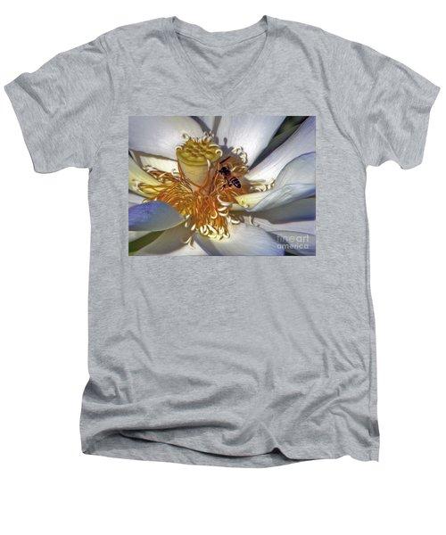 Bee On Lotus Men's V-Neck T-Shirt by Savannah Gibbs