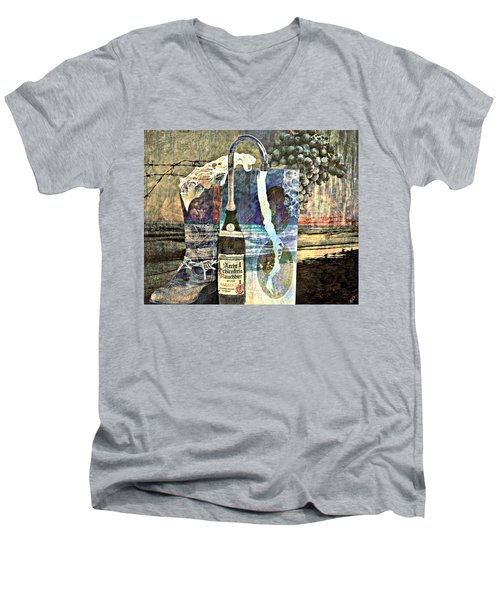 Men's V-Neck T-Shirt featuring the mixed media Beer On Tap by Ally  White