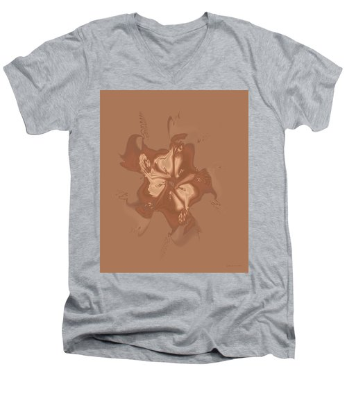 Beige Satin Morning Glory Men's V-Neck T-Shirt