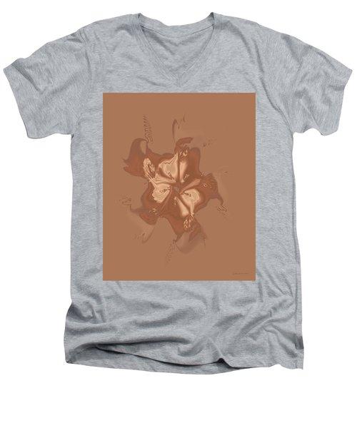 Beige Satin Morning Glory Men's V-Neck T-Shirt