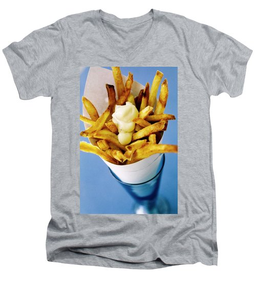 Belgian Fries With Mayonnaise On Top Men's V-Neck T-Shirt