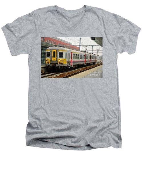 Belgium Railways Commuter Train At Brugge Railway Station Men's V-Neck T-Shirt