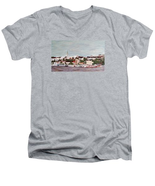 Men's V-Neck T-Shirt featuring the painting Belgrade Serbia by Jasna Gopic