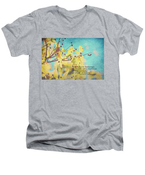Believe In Dreams Men's V-Neck T-Shirt by Toni Hopper