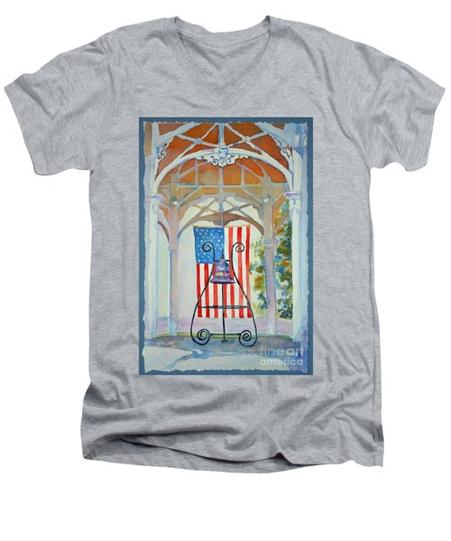 Bell And Flag Men's V-Neck T-Shirt by Mary Haley-Rocks