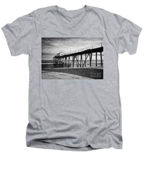 Men's V-Neck T-Shirt featuring the photograph Belmar Fishing Pier In Black And White by Debra Fedchin