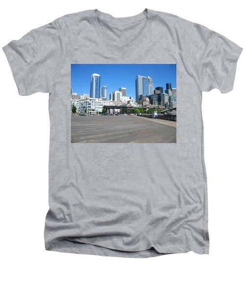 Below The Line Men's V-Neck T-Shirt by David Trotter