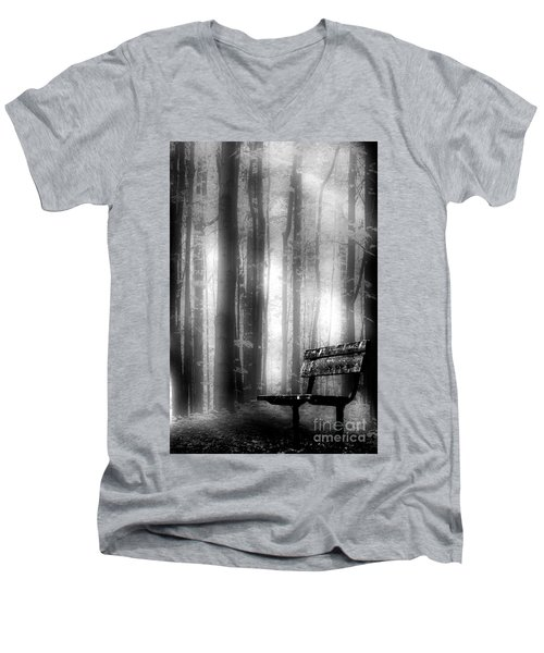 Bench In Michigan Woods Men's V-Neck T-Shirt