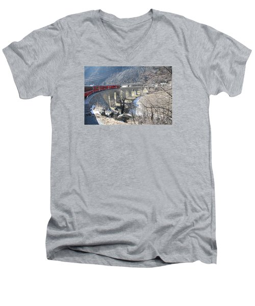 Men's V-Neck T-Shirt featuring the photograph Bernina Express In Winter by Travel Pics
