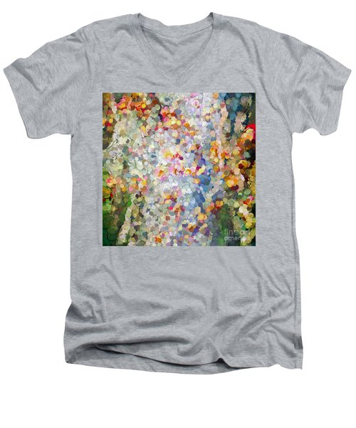 Berries Around The Tree - Abstract Art Men's V-Neck T-Shirt by Kerri Farley