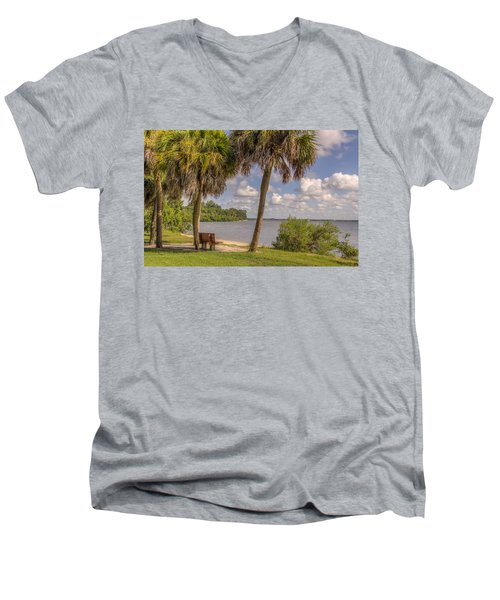 Men's V-Neck T-Shirt featuring the photograph Beside The Shore by Jane Luxton