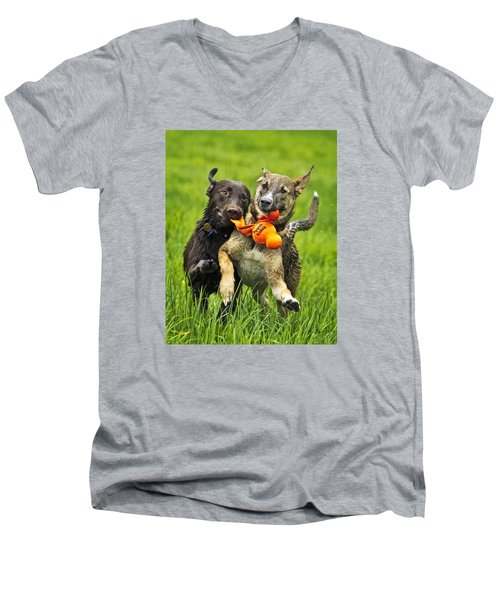 Men's V-Neck T-Shirt featuring the photograph Best Friends 2011 by Joan Davis