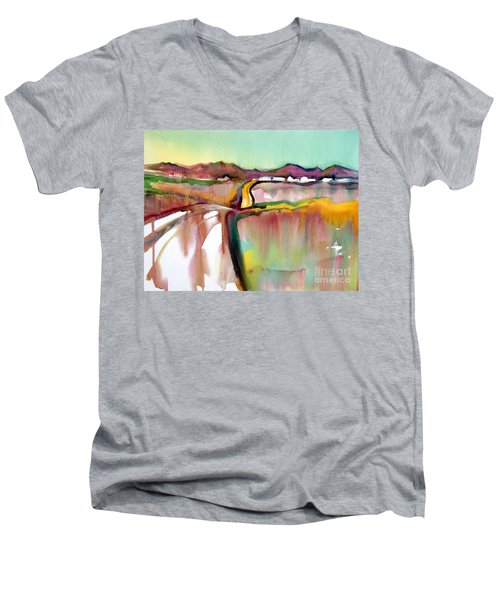 Men's V-Neck T-Shirt featuring the painting Bethel Road by Teresa Ascone