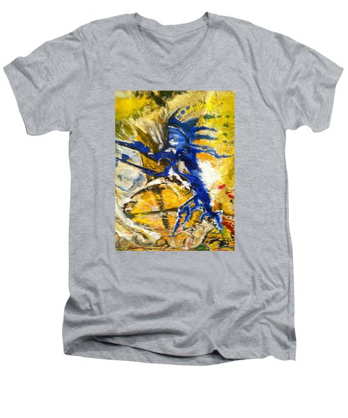 Men's V-Neck T-Shirt featuring the painting Beyond Boundaries by Kicking Bear  Productions