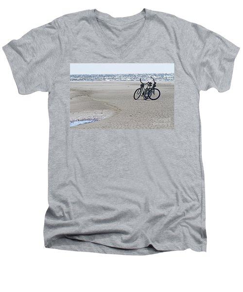 Bicycles On The Beach Men's V-Neck T-Shirt