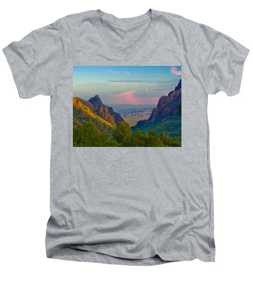 Big Bend Texas From The Chisos Mountain Lodge Men's V-Neck T-Shirt