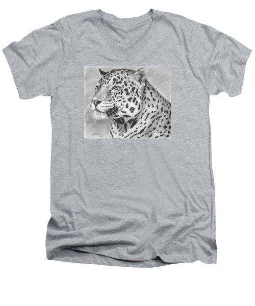 Big Cat Men's V-Neck T-Shirt by Lena Auxier