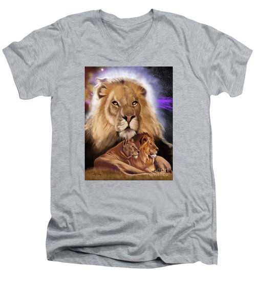 Third In The Big Cat Series - Lion Men's V-Neck T-Shirt