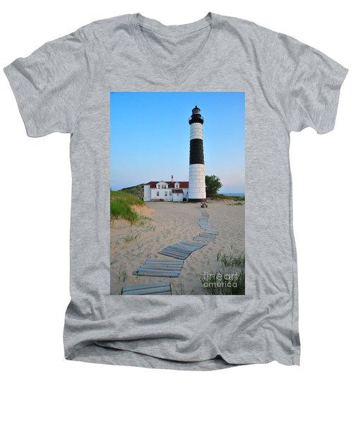 Big Sable Point Great Lakes Lighthouse Men's V-Neck T-Shirt