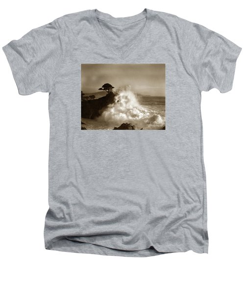 Big Wave Hitting The Lone Cypress Tree Pebble Beach California 1916 Men's V-Neck T-Shirt by California Views Mr Pat Hathaway Archives