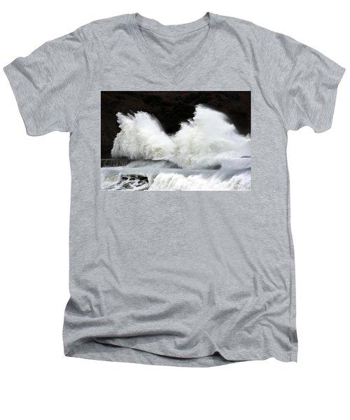 Big Waves Breaking On Breakwater Men's V-Neck T-Shirt