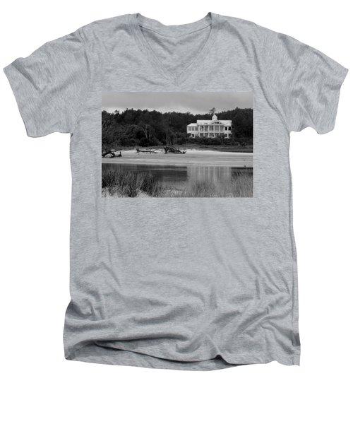 Big White House Men's V-Neck T-Shirt by Cynthia Guinn