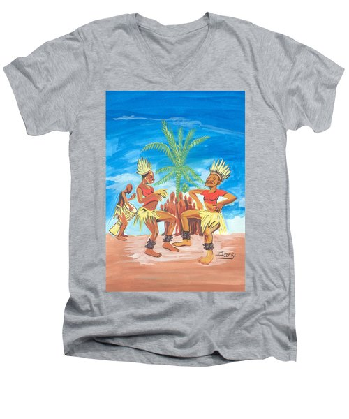 Men's V-Neck T-Shirt featuring the painting Bikutsi Dance 3 From Cameroon by Emmanuel Baliyanga