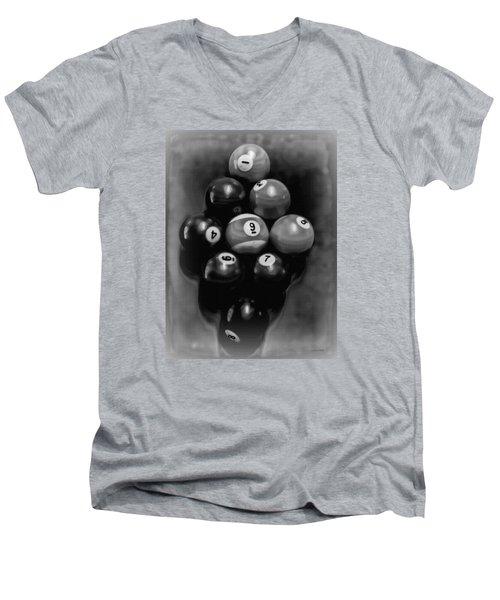 Billiards Art - Your Break - Bw  Men's V-Neck T-Shirt by Lesa Fine