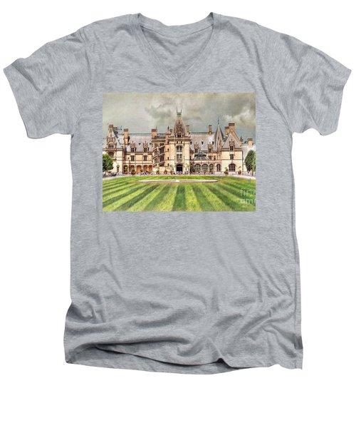 Biltmore House Men's V-Neck T-Shirt by Savannah Gibbs