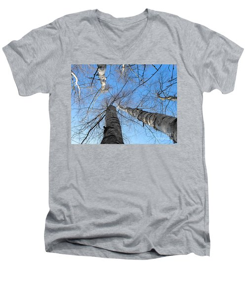 Birch Group In Winter Men's V-Neck T-Shirt