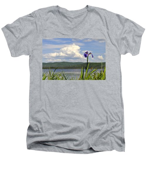 Men's V-Neck T-Shirt featuring the photograph Birch Lake Iris by Cathy Mahnke