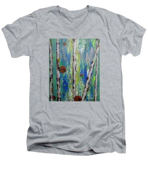 Birch - Lt. Green 4 Men's V-Neck T-Shirt by Jacqueline Athmann