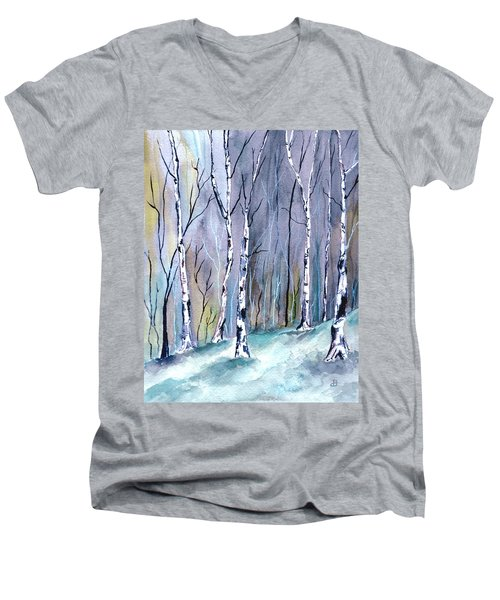 Birches In The Forest Men's V-Neck T-Shirt