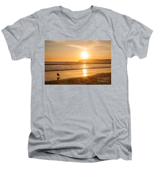 Men's V-Neck T-Shirt featuring the photograph Bird And His Sunset by John Wadleigh