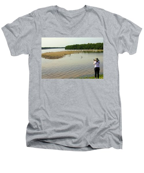 Men's V-Neck T-Shirt featuring the photograph Bird Experience by Rosalie Scanlon
