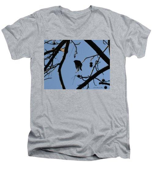 Men's V-Neck T-Shirt featuring the photograph Bird In Flight by Tara Potts