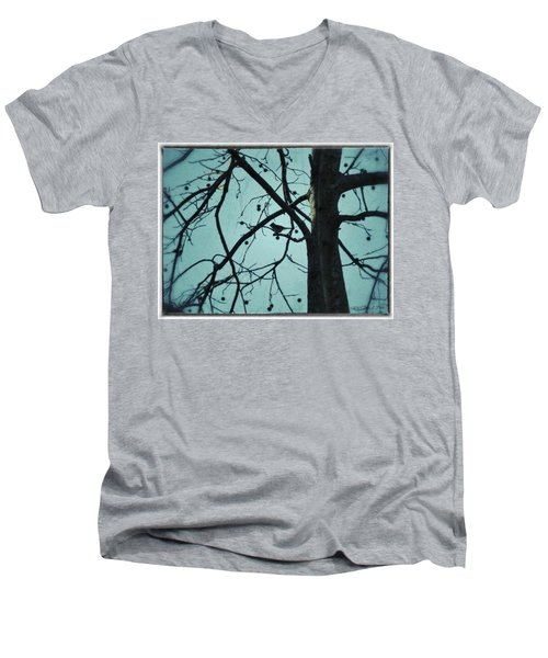 Men's V-Neck T-Shirt featuring the photograph Bird In Tree by Tara Potts