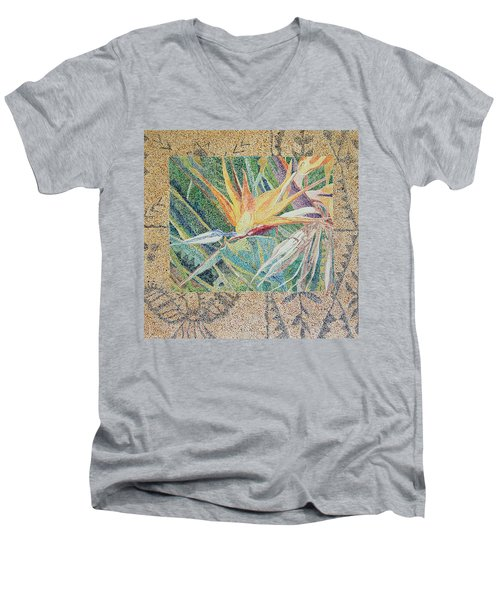 Bird Of Paradise With Tapa Cloth Men's V-Neck T-Shirt