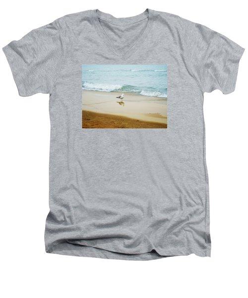 Bird On The Beach Men's V-Neck T-Shirt by Milena Ilieva
