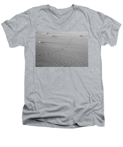 Bird Prints On Beach Men's V-Neck T-Shirt