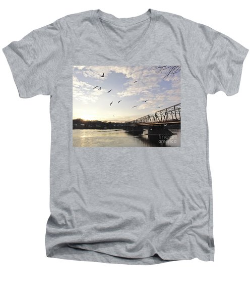 Birds And Bridges Men's V-Neck T-Shirt