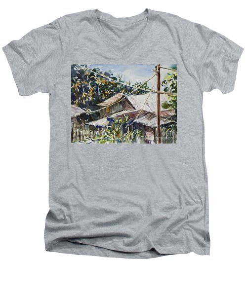 Men's V-Neck T-Shirt featuring the painting Bird's Eye View by Xueling Zou