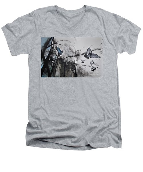 Birds Men's V-Neck T-Shirt by Maja Sokolowska