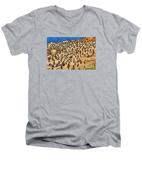 Birds Of A Feather Stick Together Men's V-Neck T-Shirt by Jim Carrell