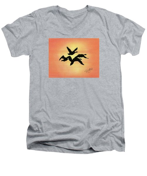 Birds Of Flight Men's V-Neck T-Shirt by Troy Levesque